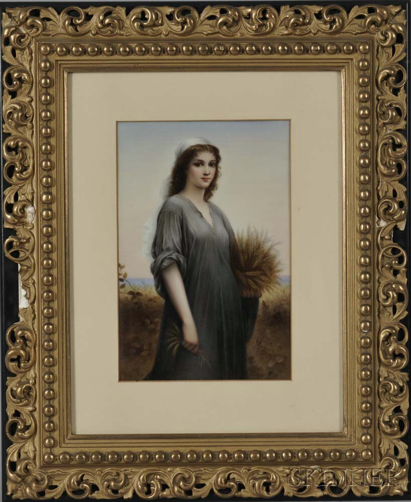 Framed Berlin-style Polychrome Porcelain Plaque of Ruth