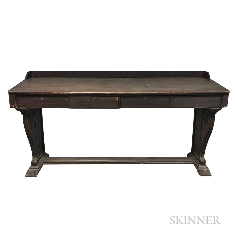 Large Neoclassical-style Walnut Desk