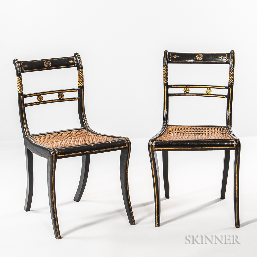 Set of Six Regency-style Black-painted and Gilt Side Chairs