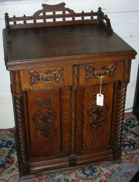 Late Victorian Carved Oak Two-Door Commode Cabinet.