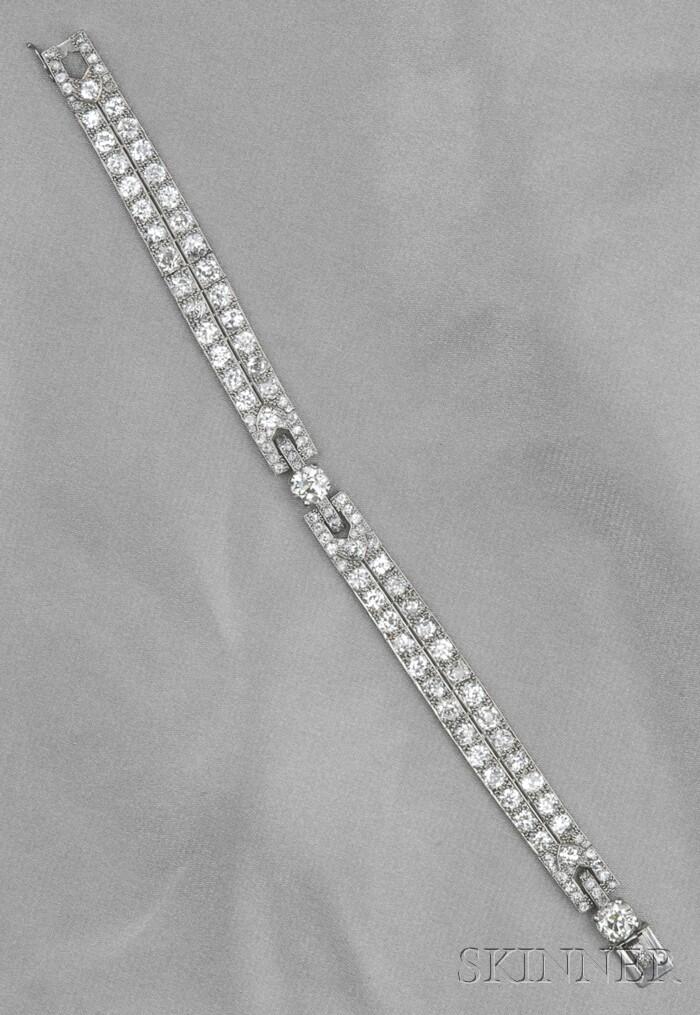 Art Deco Platinum and Diamond Bracelet, Cartier