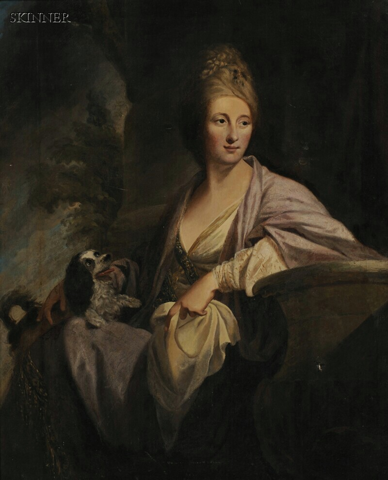 Manner of Francis Cotes (British, 1726-1770)      Portrait of a Woman with an English Toy Spaniel