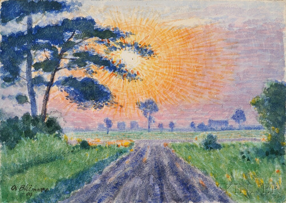 Oscar Florianus Bluemner (American, 1867-1938)      Sunset, Gutenberg, N.J. ,  1909