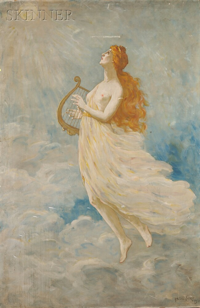 Horatio Walker (Canadian, 1858-1938)      Muse with Harp