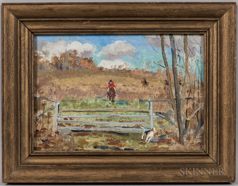 William Jacob Hays Jr. (American, 1872-1934)      Fox Hunters Approaching a Fence
