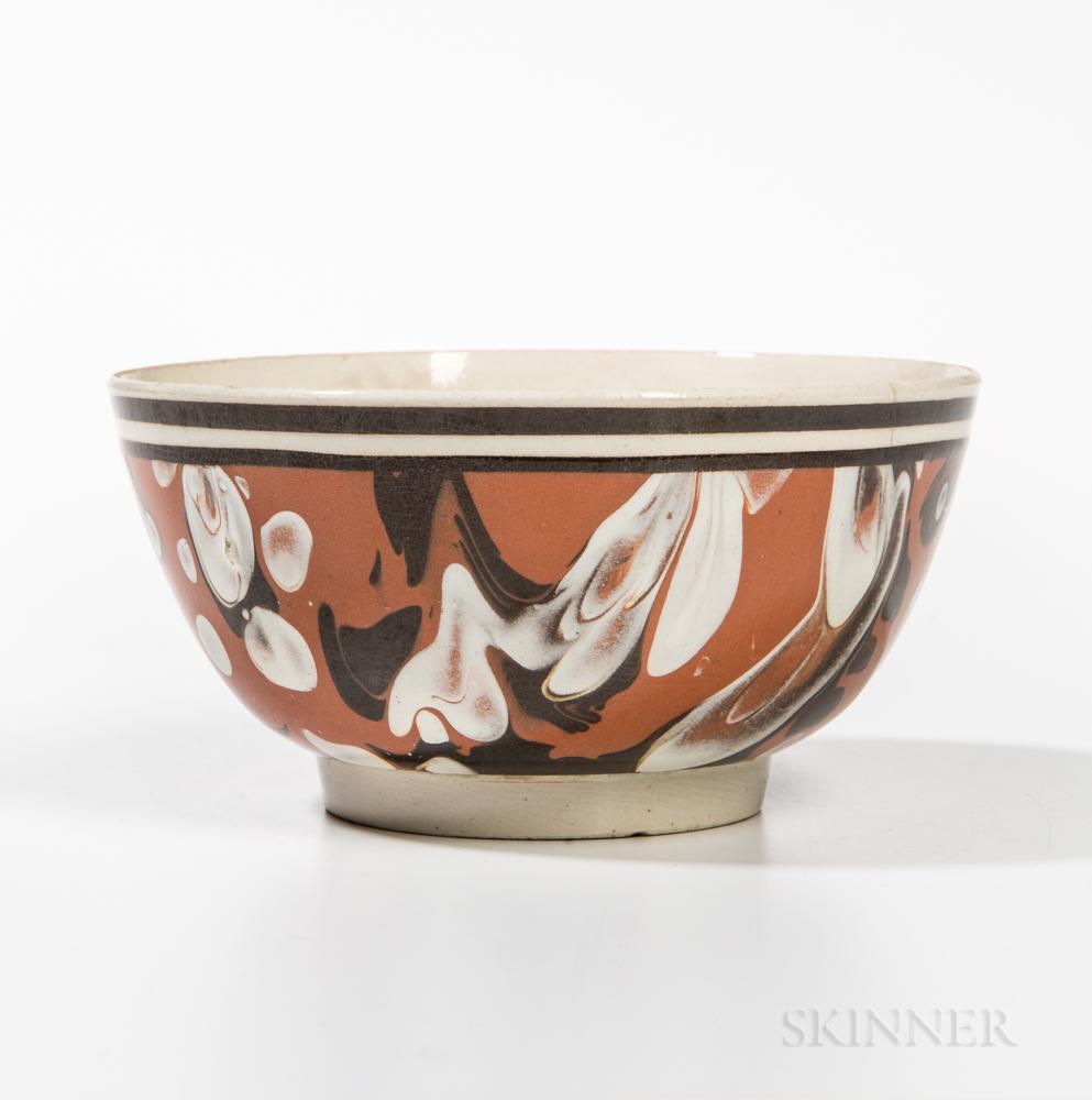 Mocha Creamware Slip-decorated Hemispherical Bowl