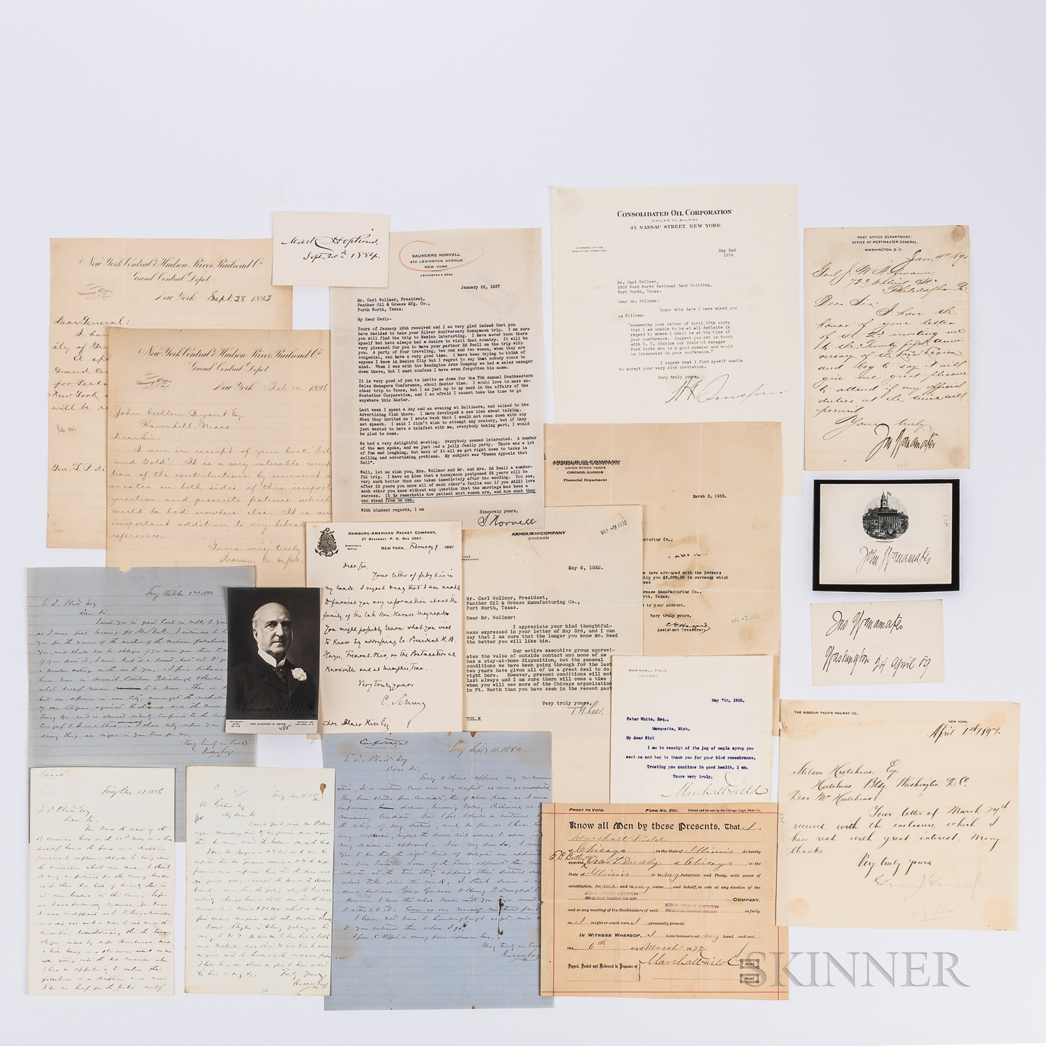 Nineteen Letters and Autographs from Early 20th Century Businessmen.