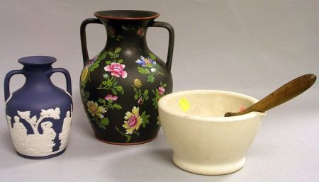 Wedgwood Mortar and Pestle, Dark Blue Jasper Dip Portland Vase, and an Enamel Floral Decorated Basalt Two-Handled Vase.