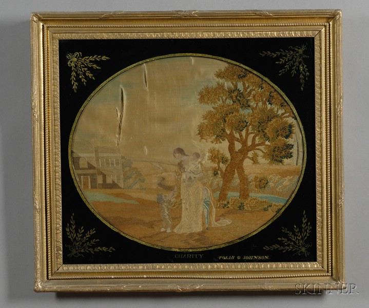 """Two Silk Needlework Pictures Depicting """"Plenty"""" and """"Charity,"""""""
