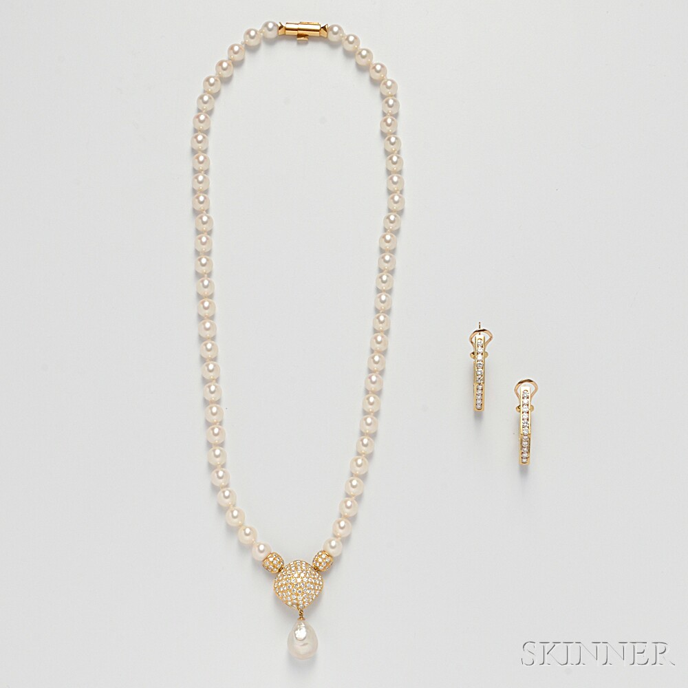 18kt Gold, Cultured Pearl, and Diamond Necklace and Earrings