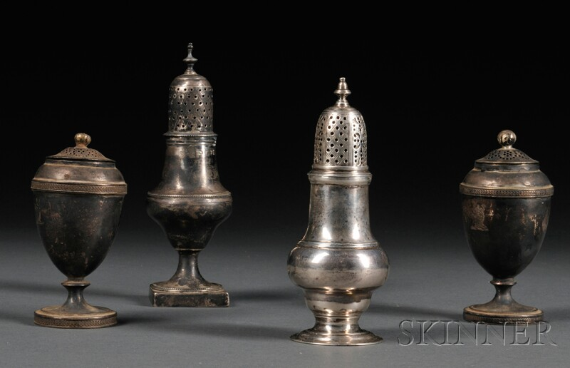 Four Georgian Silver Casters