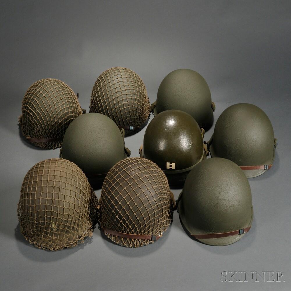 Nine Repainted M1 Helmets and Liners