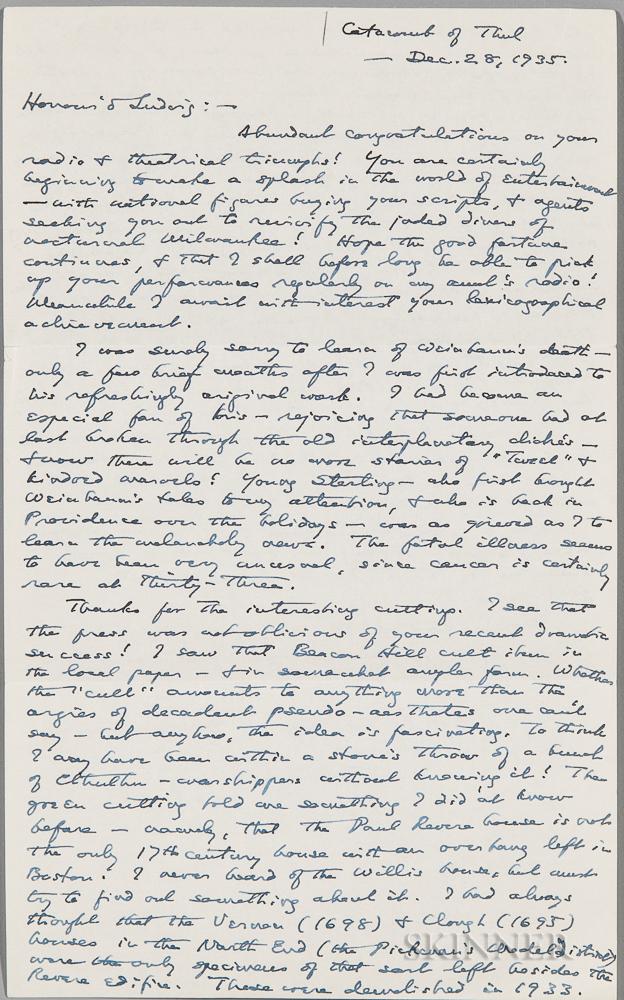 Lovecraft, H.P. (1890-1937) Autograph Letter Signed, 28 December 1935.