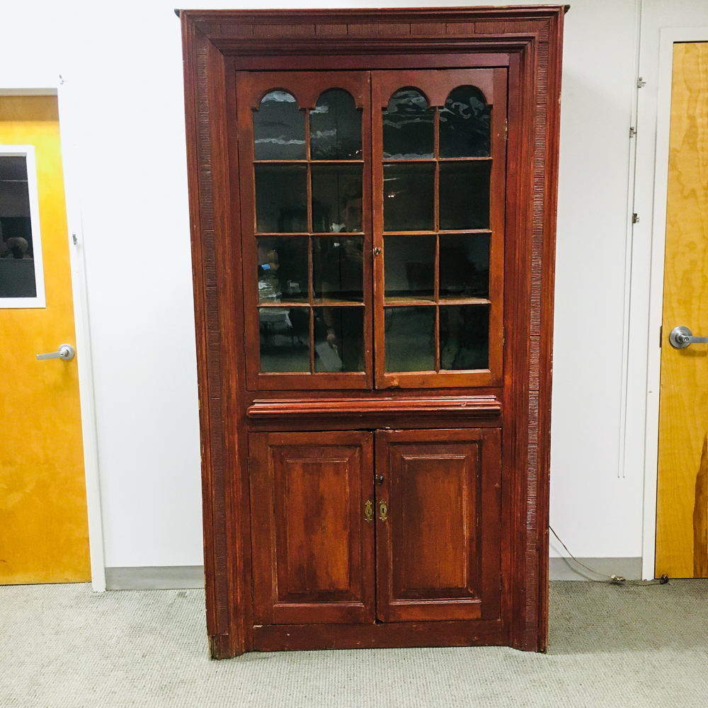 Country Red-painted and Glazed Paneled Cupboard