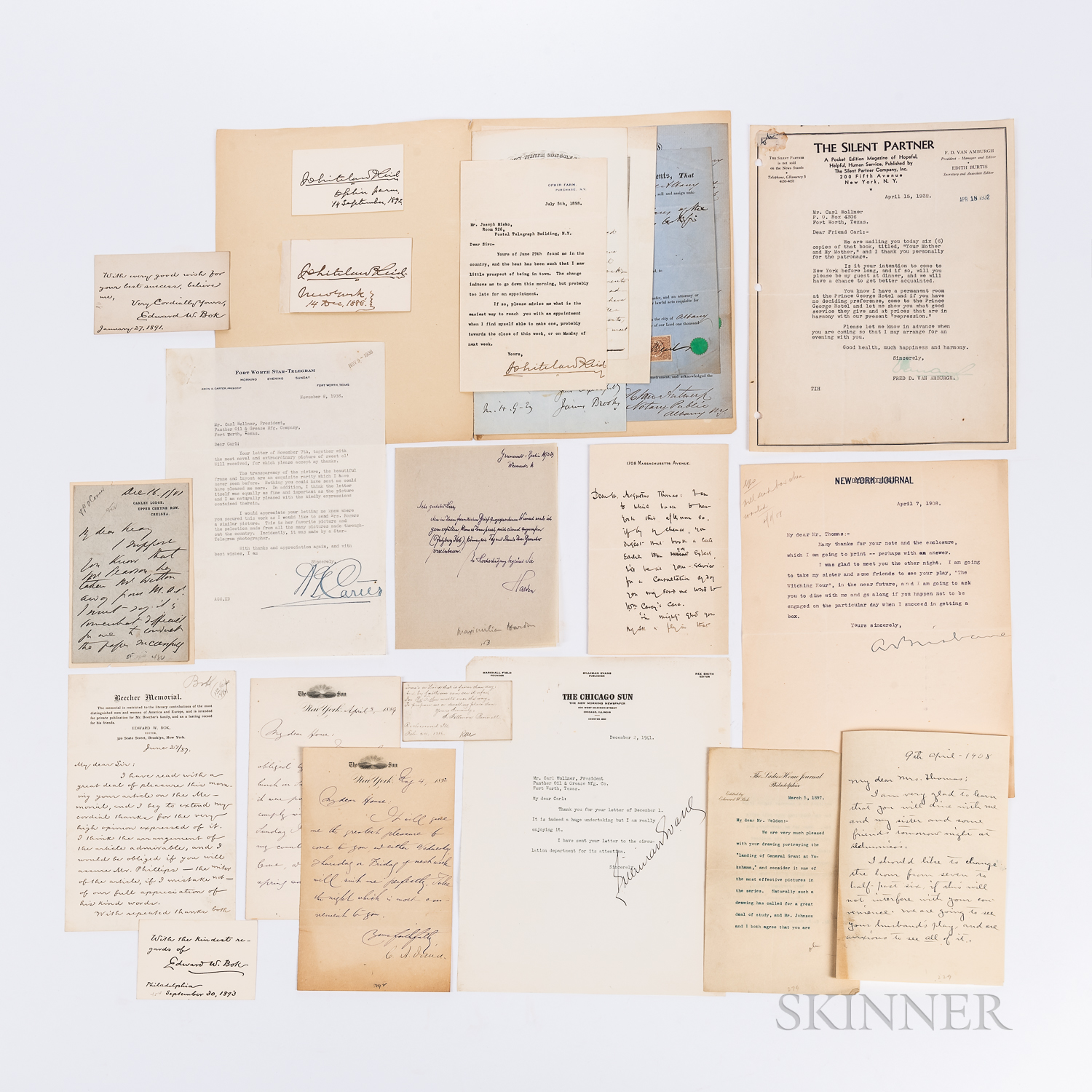 Twenty-four Letters and Autographs of American Journalists and Newspaper Editors.