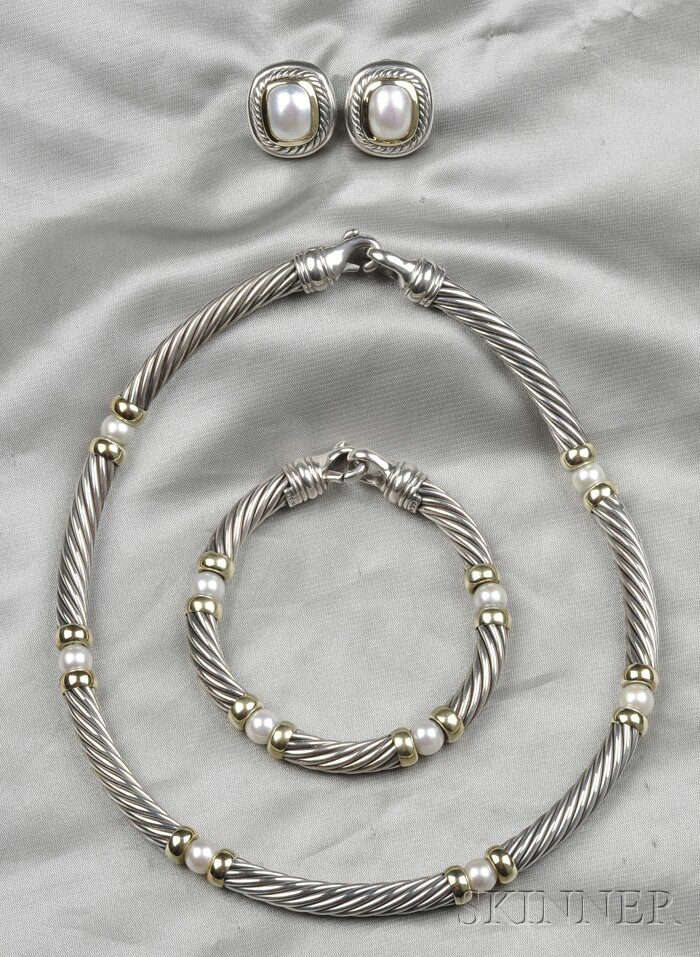 Sterling Silver, 14kt Gold, and Cultured Pearl Cable Suite, David Yurman