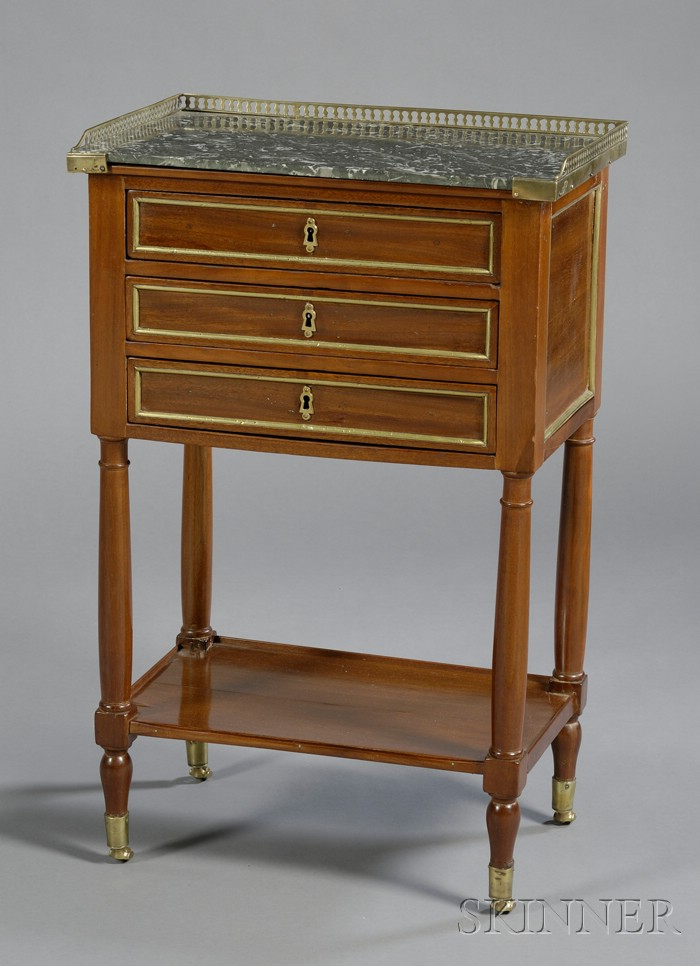 Louis XVI Brass-mounted Mahogany and Marble-top Table de Nuit