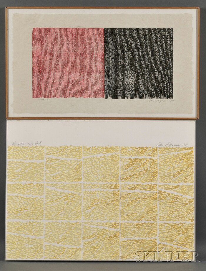 Jane Marie Logemann (American, b. 1942)      Lot of Two Prints: Untitled [Red & White], and Sand