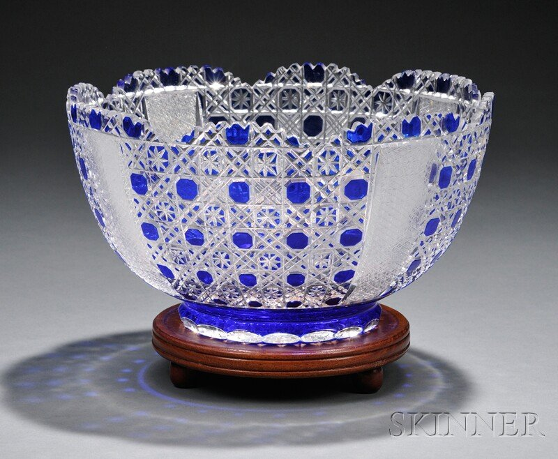 Cobalt Blue-overlaid and Cut Glass Bowl