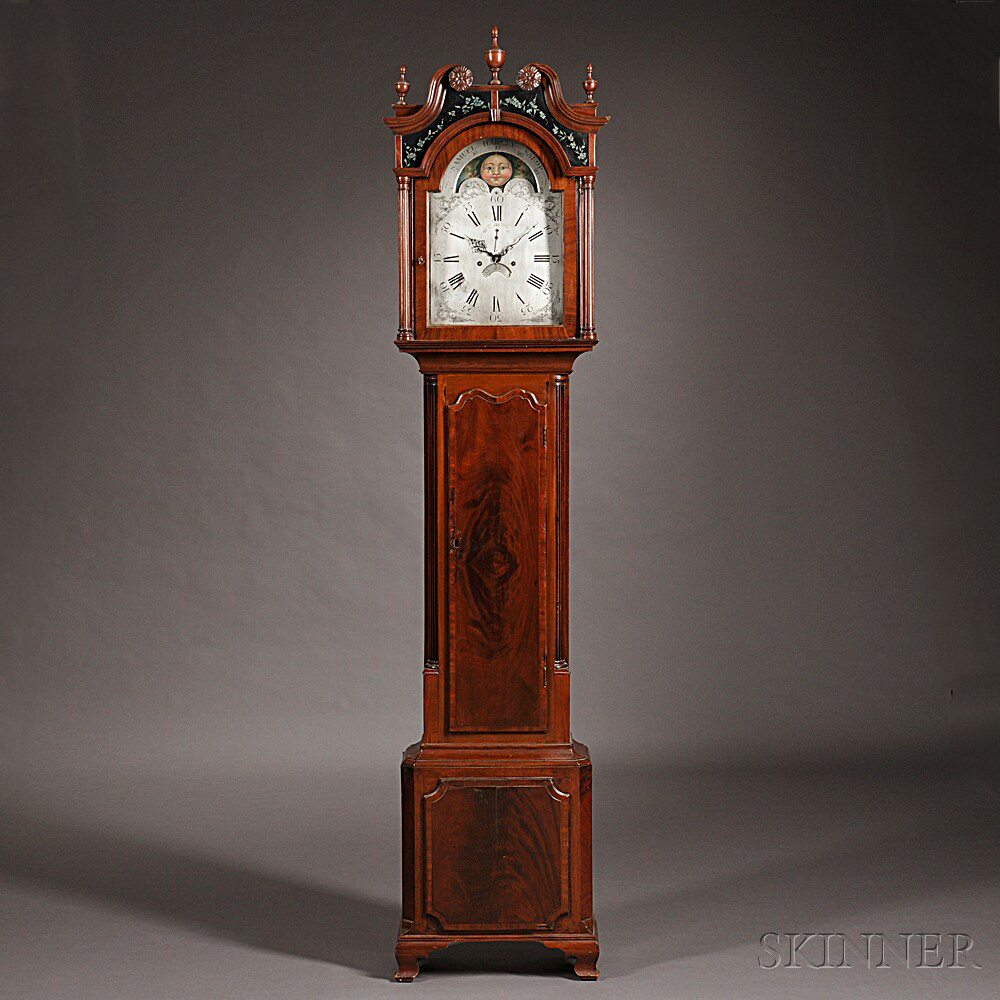 Samuel Harley Mahogany and Oak Tall Case Clock