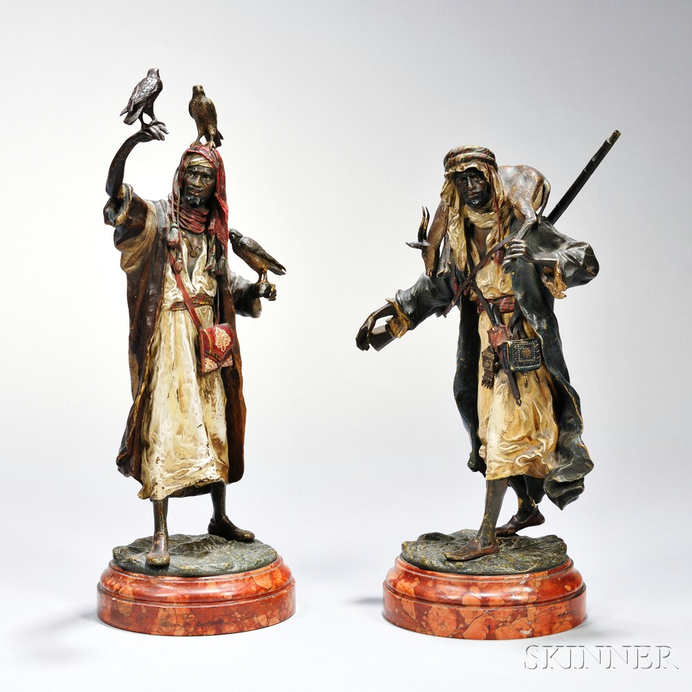 Two Franz Bergmann Cold-painted Figures of a Falconer and Hunter