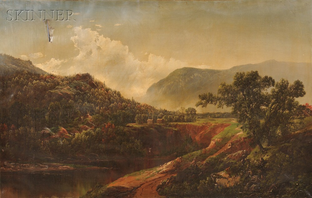 William Louis Sonntag (American, 1822-1900)      Mountain Vista with Cabins