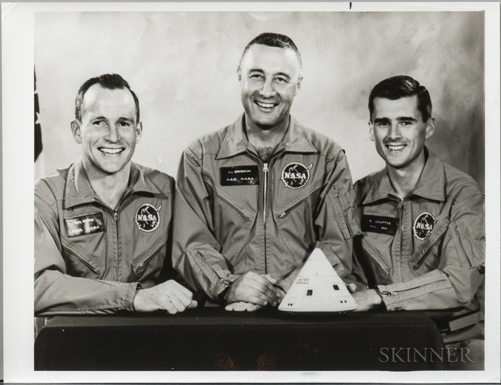 Apollo 1, Prime Crew, March-April 1966, Three Photographs and Other Material.