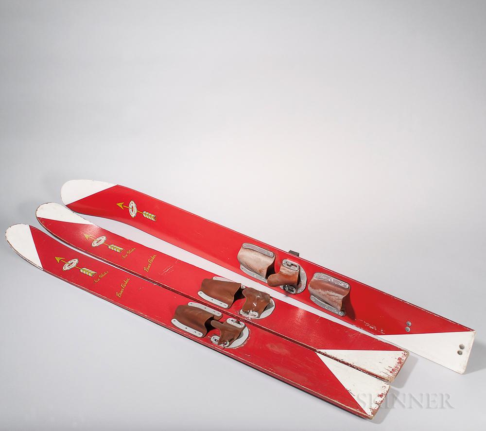 Three Painted Wood Vintage Water Skis