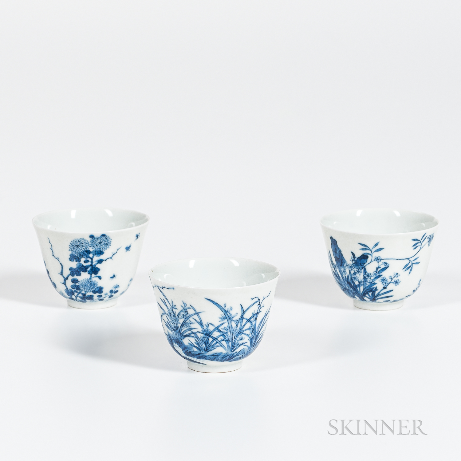 """Set of Three Blue and White """"Month"""" Cups"""