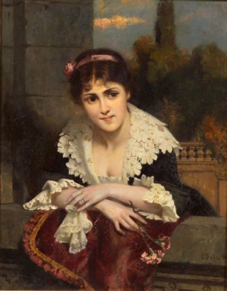 Carl Rudolph Sohn (German, 1845-1908)    A Beauty at the Railing