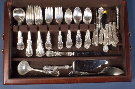 "Reed & Barton Sterling ""Burgundy"" Flatware Service for Twelve in Mahogany Case"