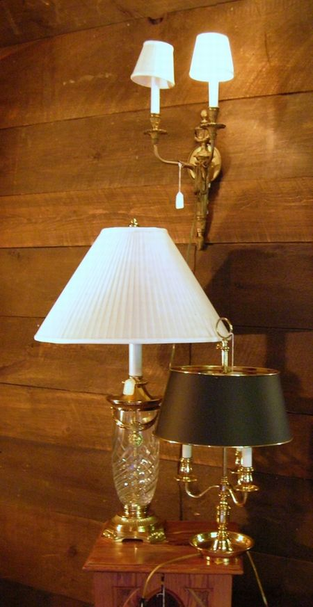 Three Neoclassical-style Brass, Gilt-metal, and Glass Lighting Fixtures