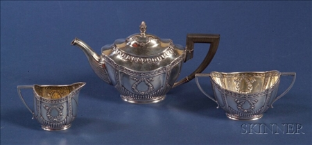 German .800 Silver Three Piece Tea Set