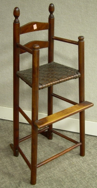 Childs Maple Slat-back High Chair with Woven Splint Seat.