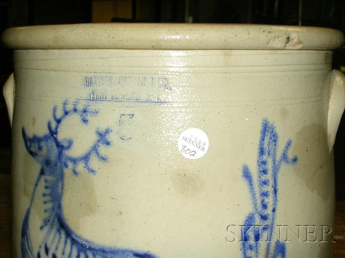 Stoneware Crock with Cobalt Deer Decoration