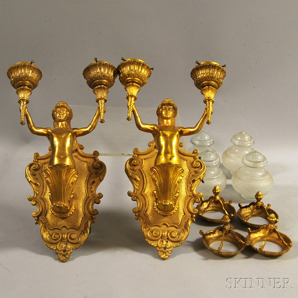 Pair of Gilt-metal Figural Electrified Two-light Wall Sconces