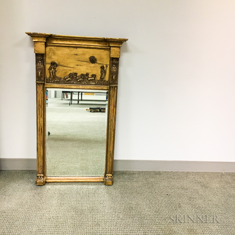 Classical Carved Gilt-gesso Tabernacle Mirror