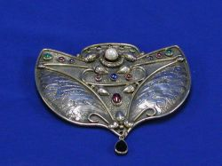 Contemporary Israeli Sterling and Gemstone Brooch.