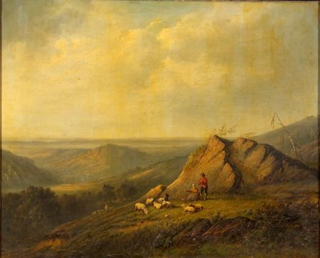 Continental School, 19th Century    Herders with Sheep in a High Mountain Pasture