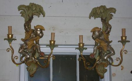 Pair of Rococo-style Silver Gilt and Painted Wooden Figural Two-Arm Wall Sconces