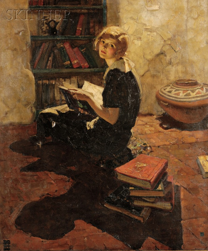Dean Cornwell  (American, 1892-1960)      Portrait of a Young Woman Reading