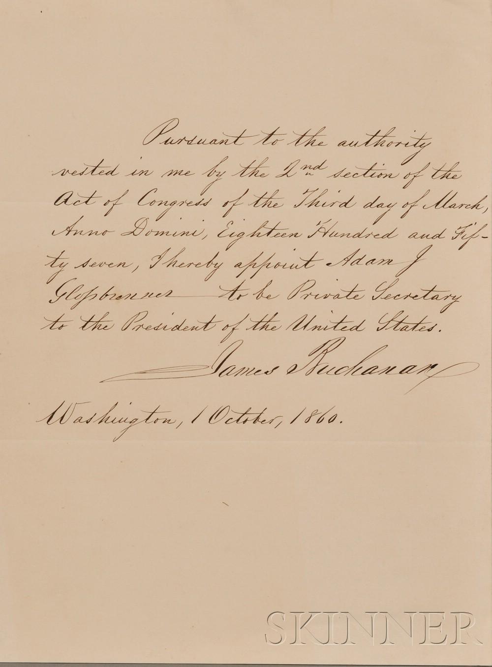 (Buchanan, James, 1791-1868) and Glossbrenner, Adam John (1810-1889)