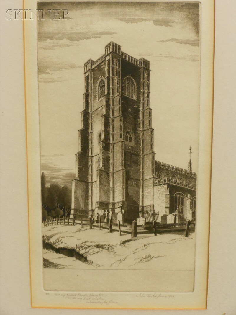 John Taylor Arms (American, 1887-1953)      Four Village Views: Norwich (Sketch)