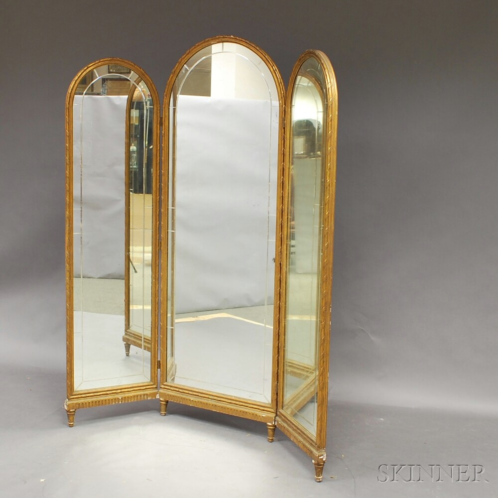 Gold-painted Tripartite Dressing Mirror