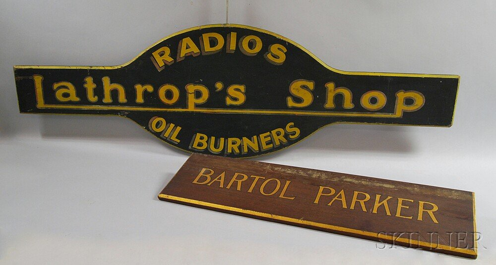 Two Painted Trade Signs