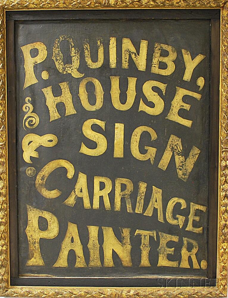 Framed Oil on Canvas Trade Sign