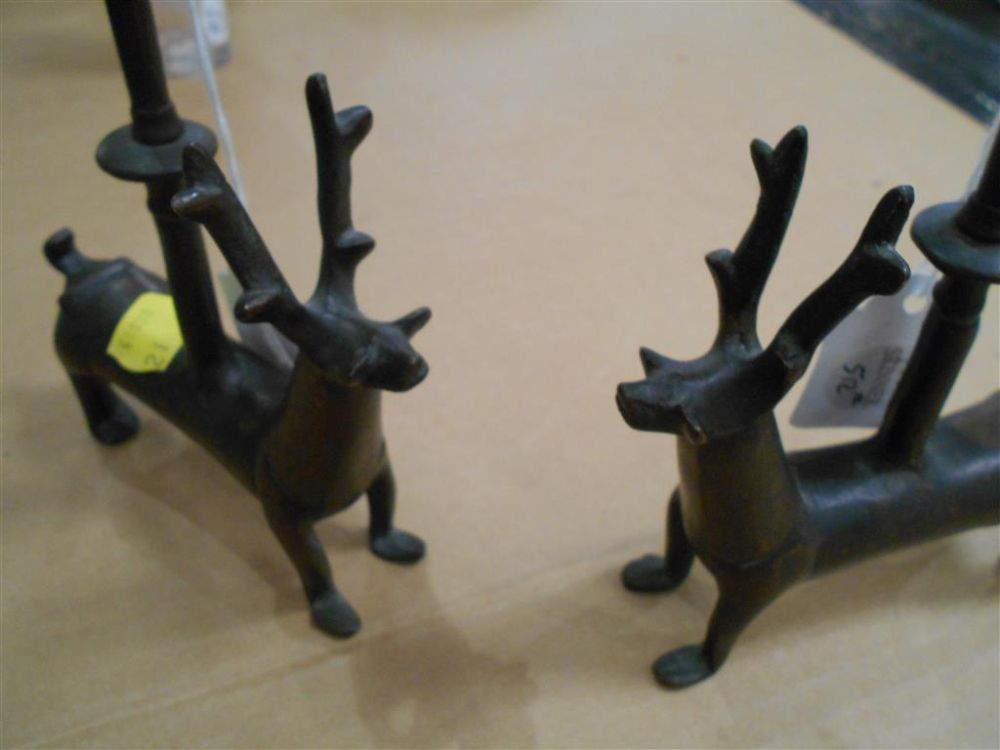 Pair of Mediterranean Bronze Candle Holders