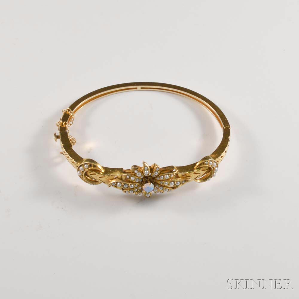 14kt Gold, Opal, and Seed Pearl Bangle