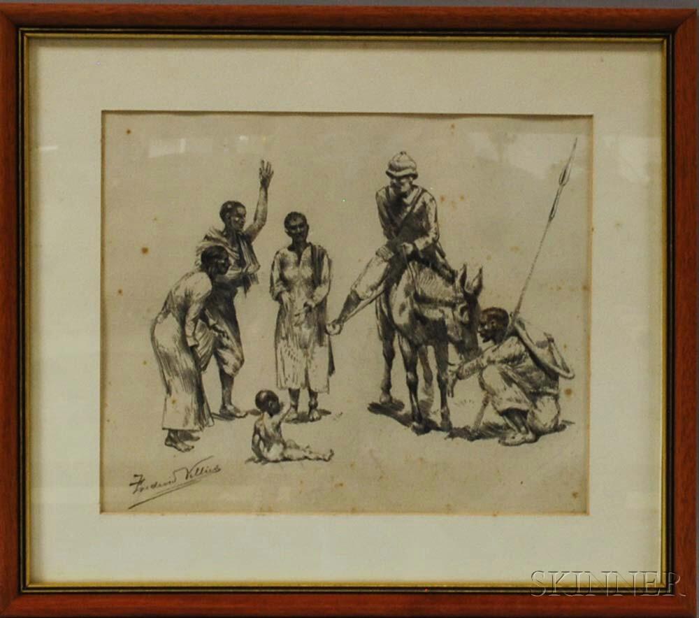 Framed Pencil Sketch of a Figural Scene