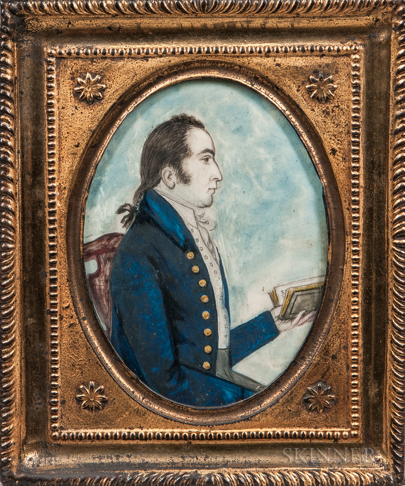 American School, Late 18th Century      Portrait of a Gentleman in a Blue Jacket Holding a Book